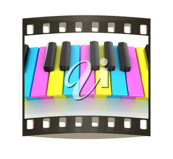 Colorfull piano keys on a white background. The film strip
