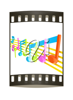 Various music notes on stave. Colorfull 3d. The film strip