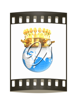 Gold crown on earth isolated on white background. The film strip