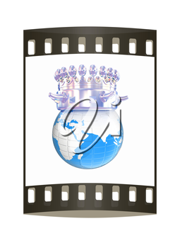 Fantastic crown on earth isolated on white background. The film strip