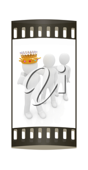 3d people - man, person with a golden crown and 3d man. The film strip