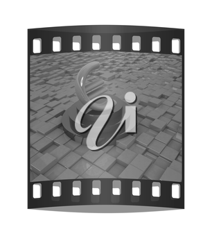 Euro sign on podium. 3D icon on abstract urban background. The film strip