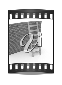 Ladder leans on brick wall on a white background. The film strip