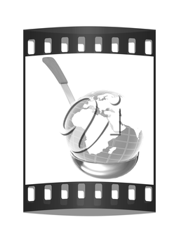 Blue earth on soup ladle on a white background. The film strip