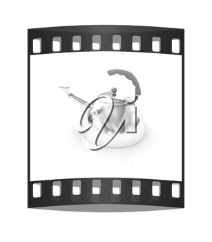 Glossy chrome kettle on a white background. The film strip
