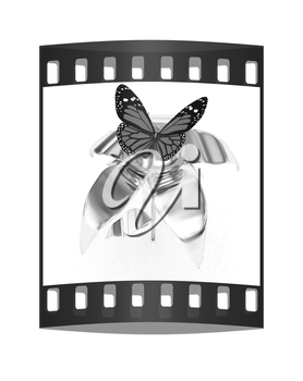 Red butterflys on a chrome flower with a gold head on a white background. The film strip