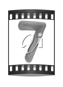 Number 7- seven on white background. The film strip