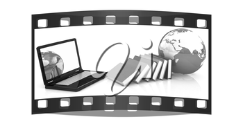 concept of online education on a white background. The film strip