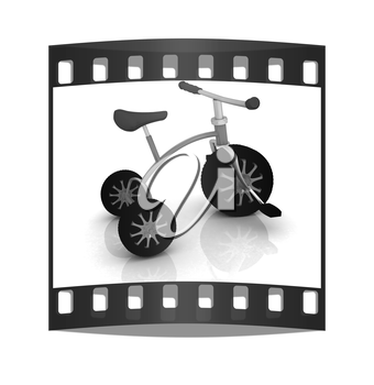 children bicycle on a white background. The film strip