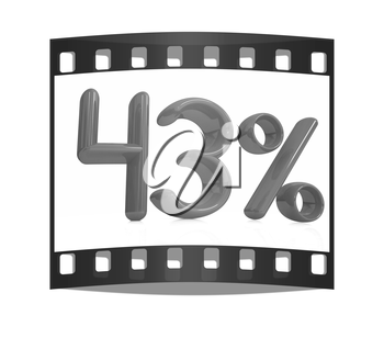 3d red 43 - forty three percent on a white background. The film strip