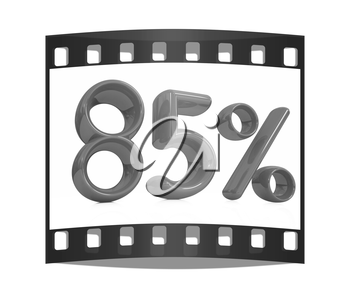 3d red 85 - eighty-five percent on a white background. The film strip