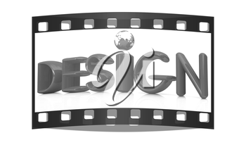 3d red text design on a white background. The film strip