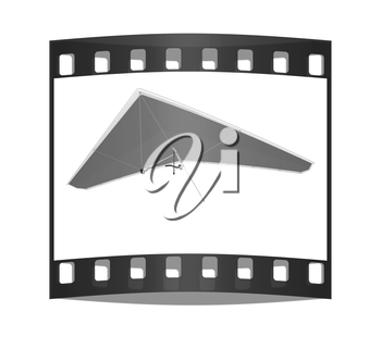 Hang glider isolated on a white background. The film strip
