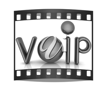 Word VoIP with 3D globeon a white background. The film strip