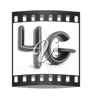 4g internet network. 3d text. The film strip