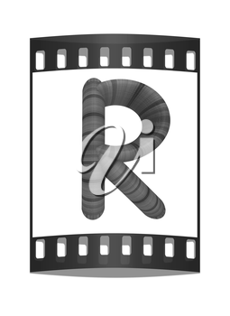 Wooden Alphabet. Letter R on a white background. The film strip