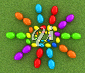 Easter eggs as a Happy Easter greeting on a green grass