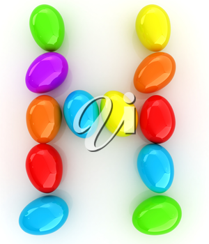 Alphabet from colorful eggs. Letter H