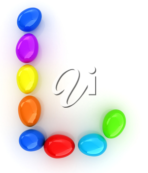 Alphabet from colorful eggs. Letter L