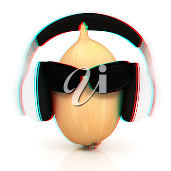 Ripe onion with sun glass and headphones front face on a white background. 3D illustration. Anaglyph. View with red/cyan glasses to see in 3D.