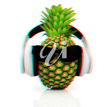 Pineapple with sun glass and headphones front face on a white background. 3D illustration. Anaglyph. View with red/cyan glasses to see in 3D.