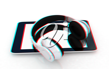 phone and headphones on a white background. 3D illustration. Anaglyph. View with red/cyan glasses to see in 3D.