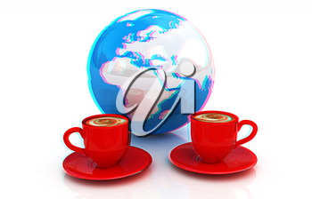 Coffee Global World concept on a white background. 3D illustration. Anaglyph. View with red/cyan glasses to see in 3D.