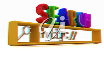 3d internet search string.Business and technology on a white background. 3D illustration. Anaglyph. View with red/cyan glasses to see in 3D.