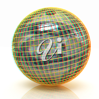 Sphere from  dollar on a white background. 3D illustration. Anaglyph. View with red/cyan glasses to see in 3D.