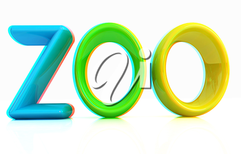Colorful 3d text Zoo on a white background. 3D illustration. Anaglyph. View with red/cyan glasses to see in 3D.