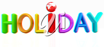 3d colorful text holiday on a white background. 3D illustration. Anaglyph. View with red/cyan glasses to see in 3D.