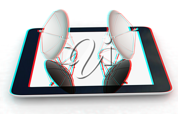 The concept of mobile high-speed Internet on a white background. 3D illustration. Anaglyph. View with red/cyan glasses to see in 3D.
