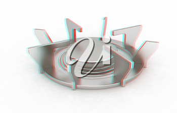 3d Gas Ring on a white background. 3D illustration. Anaglyph. View with red/cyan glasses to see in 3D.