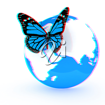 Earth and butterfly on white background. 3D illustration. Anaglyph. View with red/cyan glasses to see in 3D.