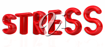 stress 3d text on a white background. 3D illustration. Anaglyph. View with red/cyan glasses to see in 3D.
