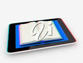 tablet pc and opened book on white background. 3D illustration. Anaglyph. View with red/cyan glasses to see in 3D.