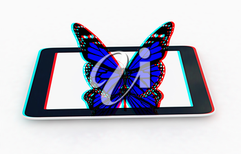 butterflies on a phone on a white background. 3D illustration. Anaglyph. View with red/cyan glasses to see in 3D.