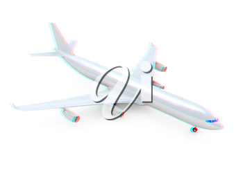 White airplane on a white background. 3D illustration. Anaglyph. View with red/cyan glasses to see in 3D.