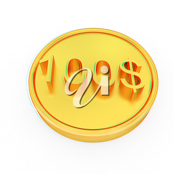 Gold 100 dollar coin on a white background. 3D illustration. Anaglyph. View with red/cyan glasses to see in 3D.