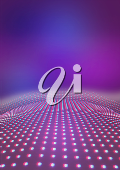 Light path to infinity on a pink background. 3D illustration. Anaglyph. View with red/cyan glasses to see in 3D.