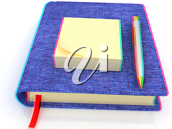 Sticky notes and pen on notepad on a white background. Anaglyph. View with red/cyan glasses to see in 3D. 3D illustration