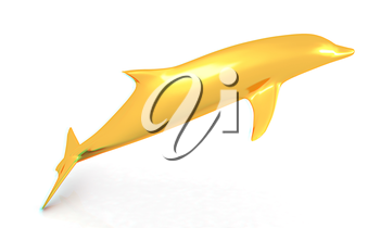 golden dolphin on a white background. 3D illustration. Anaglyph. View with red/cyan glasses to see in 3D.
