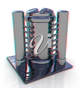 3d Abstract chrome metal pressure vessel. 3D illustration. Anaglyph. View with red/cyan glasses to see in 3D.
