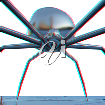 chrome spider.Close-up on a white background. 3D illustration. Anaglyph. View with red/cyan glasses to see in 3D.