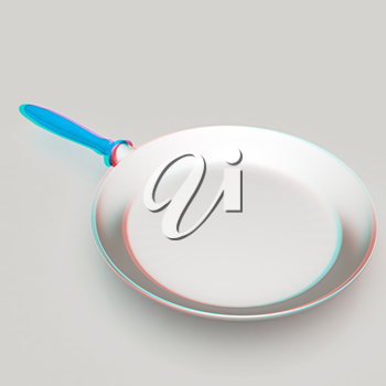 Pan with handle on light gray background. 3D illustration. Anaglyph. View with red/cyan glasses to see in 3D.