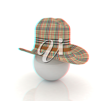 3d hats on white ball. Sapport icon on a white background. 3D illustration. Anaglyph. View with red/cyan glasses to see in 3D.