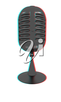 gray carbon microphone icon on a white background. 3D illustration. Anaglyph. View with red/cyan glasses to see in 3D.