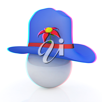 Blue hat on a blue hat with fantastic flower on white background. 3d. 3D illustration. Anaglyph. View with red/cyan glasses to see in 3D.