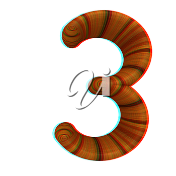 Wooden number 3- three on a white background. 3D illustration. Anaglyph. View with red/cyan glasses to see in 3D.