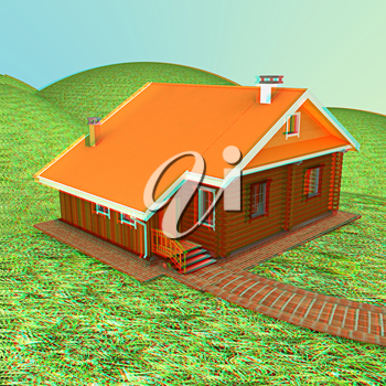 Wooden house against the background of fairytale landscape. 3D illustration. Anaglyph. View with red/cyan glasses to see in 3D.